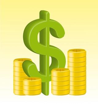 I pesi 3d firmano con l'illustrazione di vettore delle monete di oro