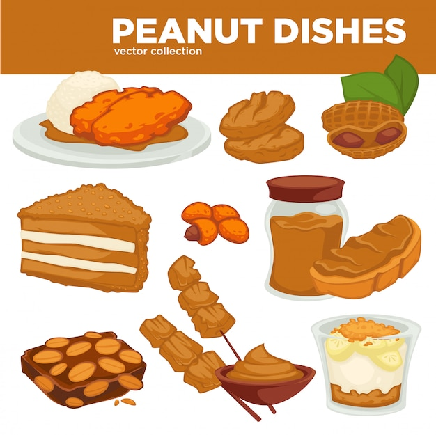 I piatti dell'arachide vector l'alimento, la bevanda ed il dessert