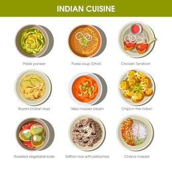I piatti tradizionali di cucina indiana vector le icone piane messe