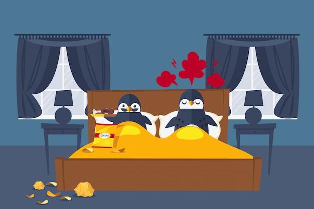 I pinguini di coppia riposano in camera da letto, illustrazione. il personaggio con i baffi mangia carne e patatine nel letto, infastidendo la moglie