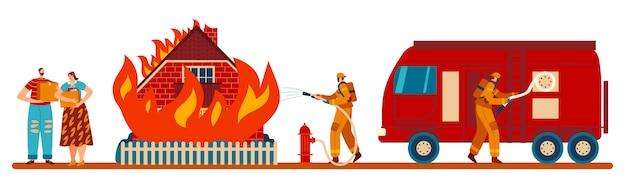I pompieri estinguono la fiamma della casa, camion dei pompieri, idrante, coppia di personaggi, famiglia lasciata senza illustrazione domestica.