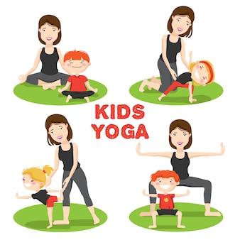 I primi asanas di yoga dei bambini posa all'aperto su erba con le icone del fumetto della madre