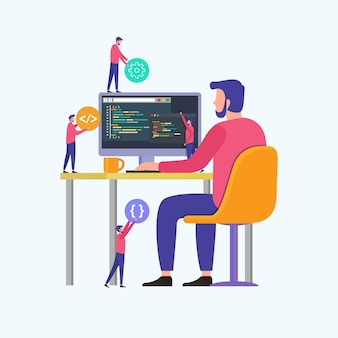 I programmatori codificano il sito web sul computer