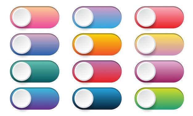 I pulsanti attivano / disattivano l'interruttore. set di icone web del pulsante di scorrimento colore sfumato