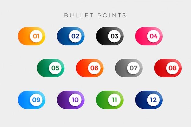 I punti elenco puntano i numeri in stile pulsante da uno a dodici