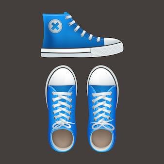 I ragazzi e le ragazze adolescenti delle scuole indossano scarpe da ginnastica alte e gumshoes
