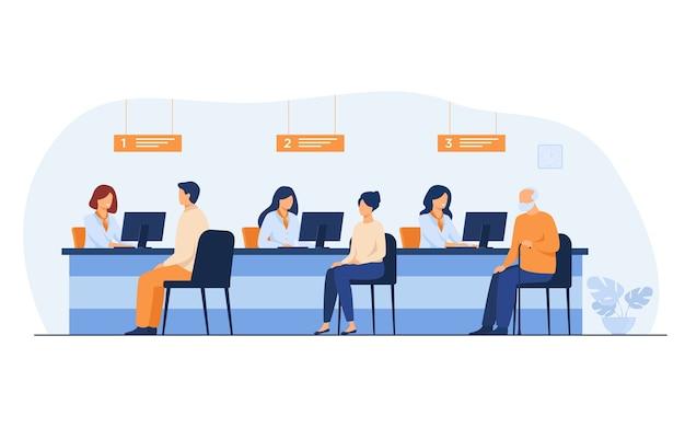 I responsabili delle finanze che lavorano con i clienti hanno isolato l'illustrazione piana di vettore. gente del fumetto che si siede nell'ufficio di banca per lo scambio di denaro.