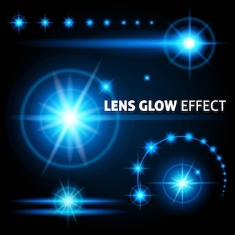 I riflessi e i raggi realistici dell'obiettivo illuminano la luce bianca