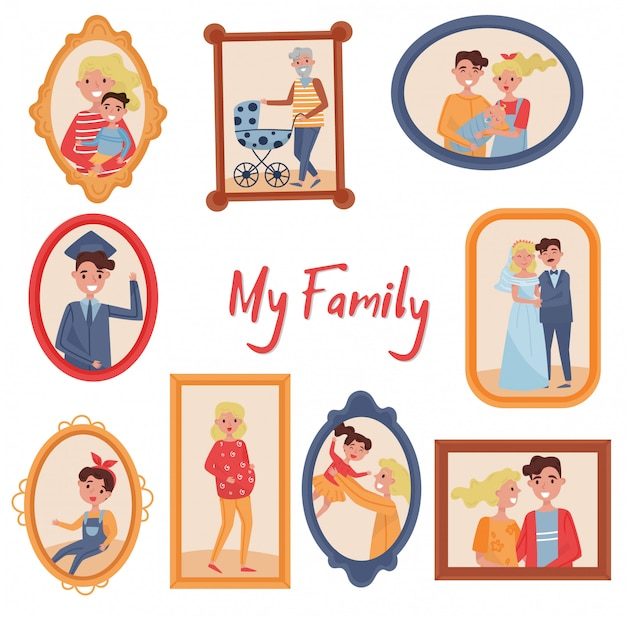 I ritratti di famiglia hanno impostato, foto dei membri della famiglia nelle illustrazioni delle strutture di legno su una priorità bassa bianca