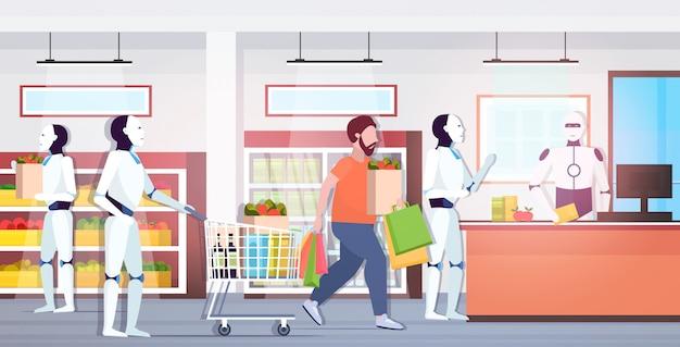 I robot e le persone in fila fanno la fila al concetto di tecnologia di intelligenza artificiale del cassiere robotico moderno supermercato interno orizzontale integrale
