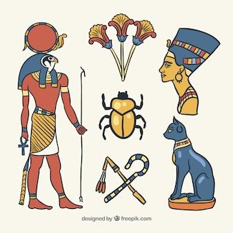 I simboli e gli dei di egitto hanno messo lo stile disegnato a disposizione