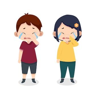 I simpatici personaggi dei bambini piangono