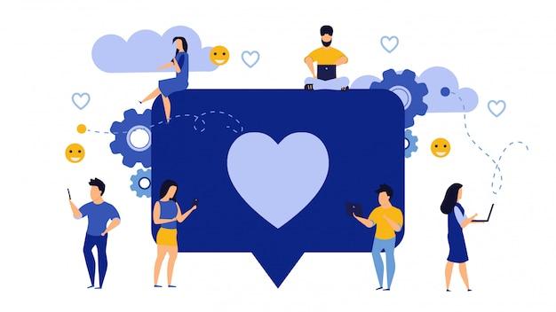I social media gradiscono il vettore del messaggio di feedback aziendale.