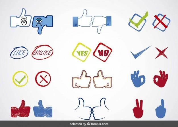 I social media sì o no collezione di icone
