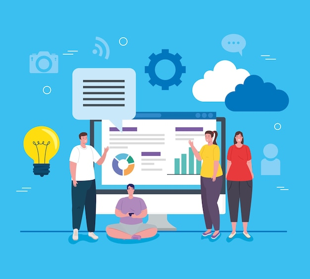 I social media, un gruppo di persone con computer e infografica riportano il design dell'illustrazione