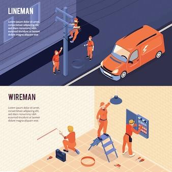 I tecnici della linea elettrica degli elettricisti assistono 2 insegne orizzontali isometriche con il lavoro del guardalinee del ministero degli interni di wireman