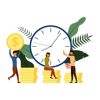 I tempi sono denaro, affari e concetto di gestione con illustrazione di carattere