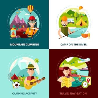 I tipi di campeggio progettano quattro illustrazione quadrata di vettore dell'insegna della composizione nelle icone quadrate