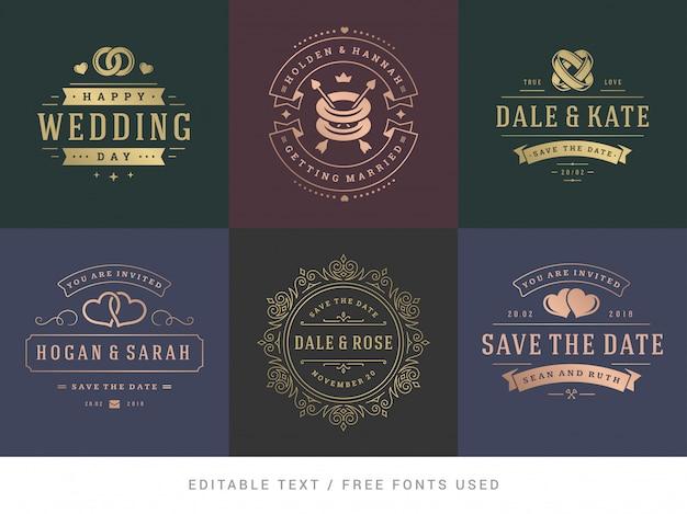 I titoli di matrimonio salvano il set di elementi eleganti di vettore di data.