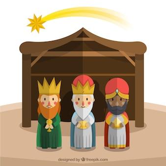 I tre re di orientare in design piatto
