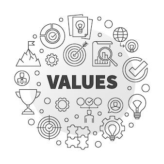 I valori aziendali vector il concetto rotondo