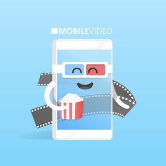 I vetri dello smartphone 3d con il concetto del popcorn guardano il cinema online dei video. simpatico personaggio dei cartoni animati con le mani, gli occhi e il sorriso