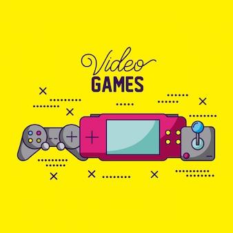 I videogiochi progettano diverse console e illustrazione di controlli