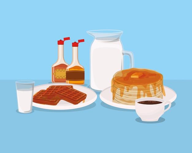 I waffle e i pancake della prima colazione progettano, premio del mercato naturale del prodotto fresco del pasto dell'alimento e cucinando l'illustrazione di vettore di tema
