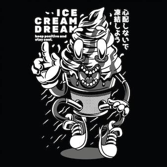 Ice cream dream black n white