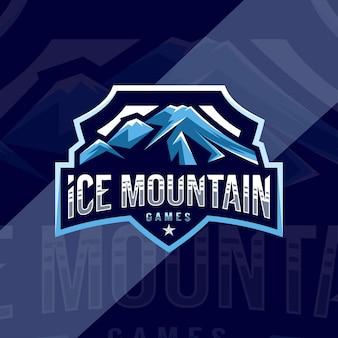 Ice mountain giochi mascotte logo design sportivo