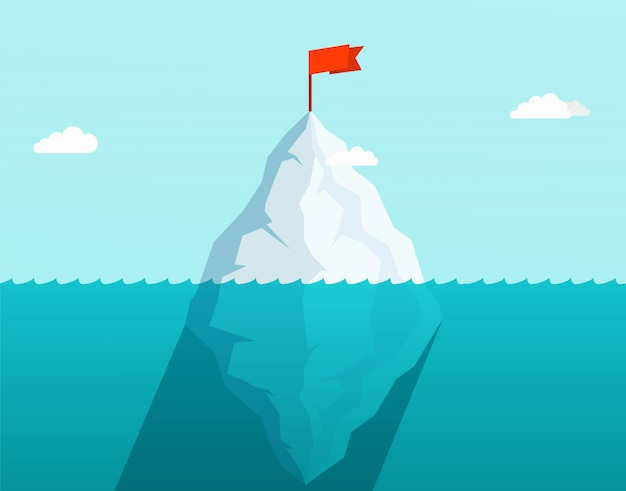 Iceberg nell'oceano che galleggia in onde del mare con bandiera rossa in cima. concetto di business