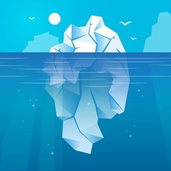 Iceberg nell'oceano illustrato