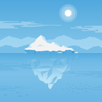 Iceberg sotto l'acqua illustrazione