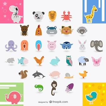 Icon daquan animali vettore materiale