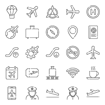 Icon pack aviation, con stile icona contorno