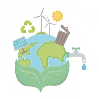 Icon set e salva il design del pianeta