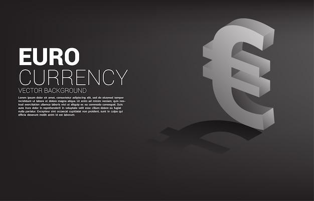 Icona 3d di valuta dei soldi di vettore euro con ombra