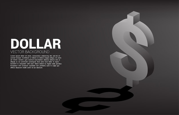 Icona 3d di valuta del dollaro dei soldi di vettore con ombra