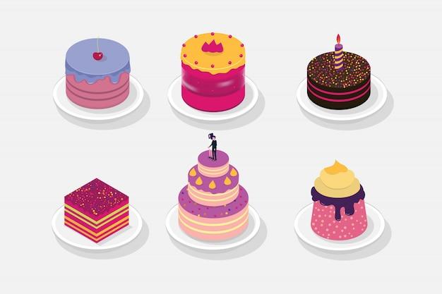 Icona 3d isometrica di torta dolce. illustrazione vettoriale