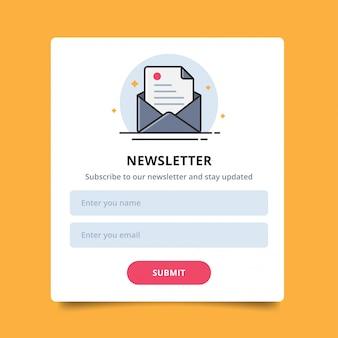Icona a forma di lettera pop-up per acquisti di newsletter online, interfaccia utente e invio.