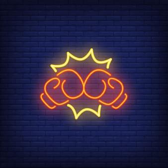 Icona al neon del pugno di pugilato
