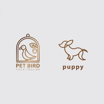 Icona animale logo concetto con line art