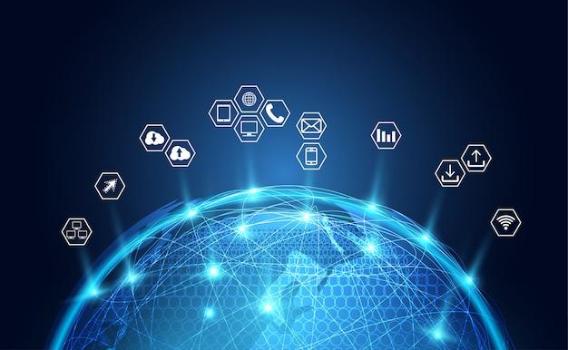 Icona astratta di affari del fondo della rete globale