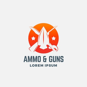 Icona astratta di munizioni e pistole, simbolo o modello di logo.