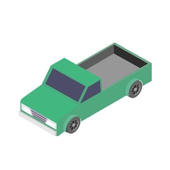 Icona auto isometrica. illustrazione di vettore 3d del camioncino isolato