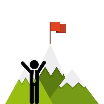 Icona bandiera di successo di montagna