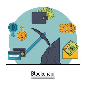 Icona blockchain e bitcoin