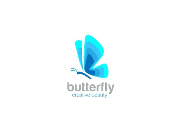 Icona blu logo farfalla astratta.