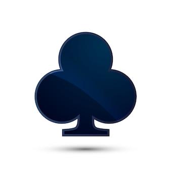 Icona blu lucida profonda del vestito della carta dei club su bianco