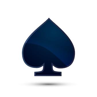 Icona blu scuro lucida del vestito della carta delle picche su bianco